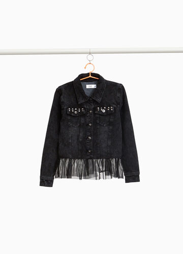 Denim jacket with studs and tulle