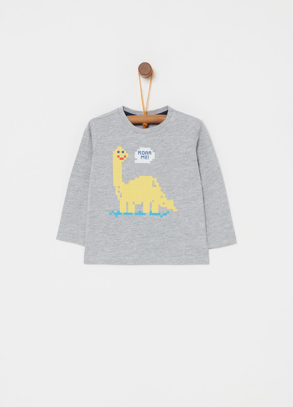 T-shirt with button and dinosaur print