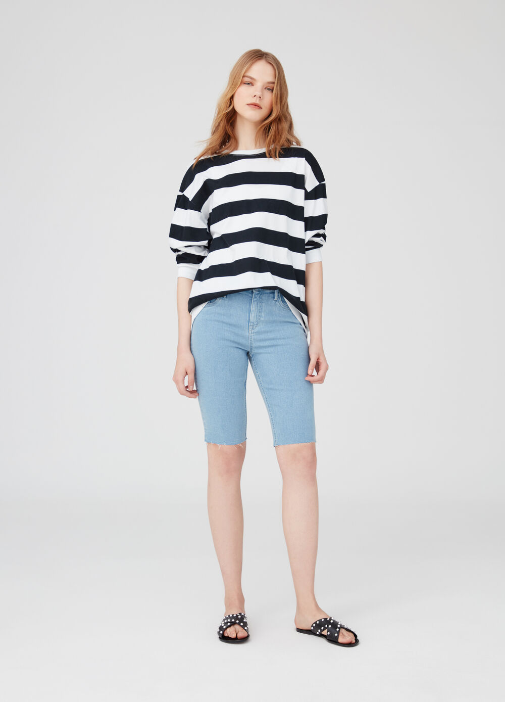 5-pocket stretch denim Bermuda shorts