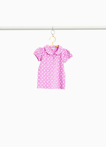 Stretch polo shirt with hearts motif print