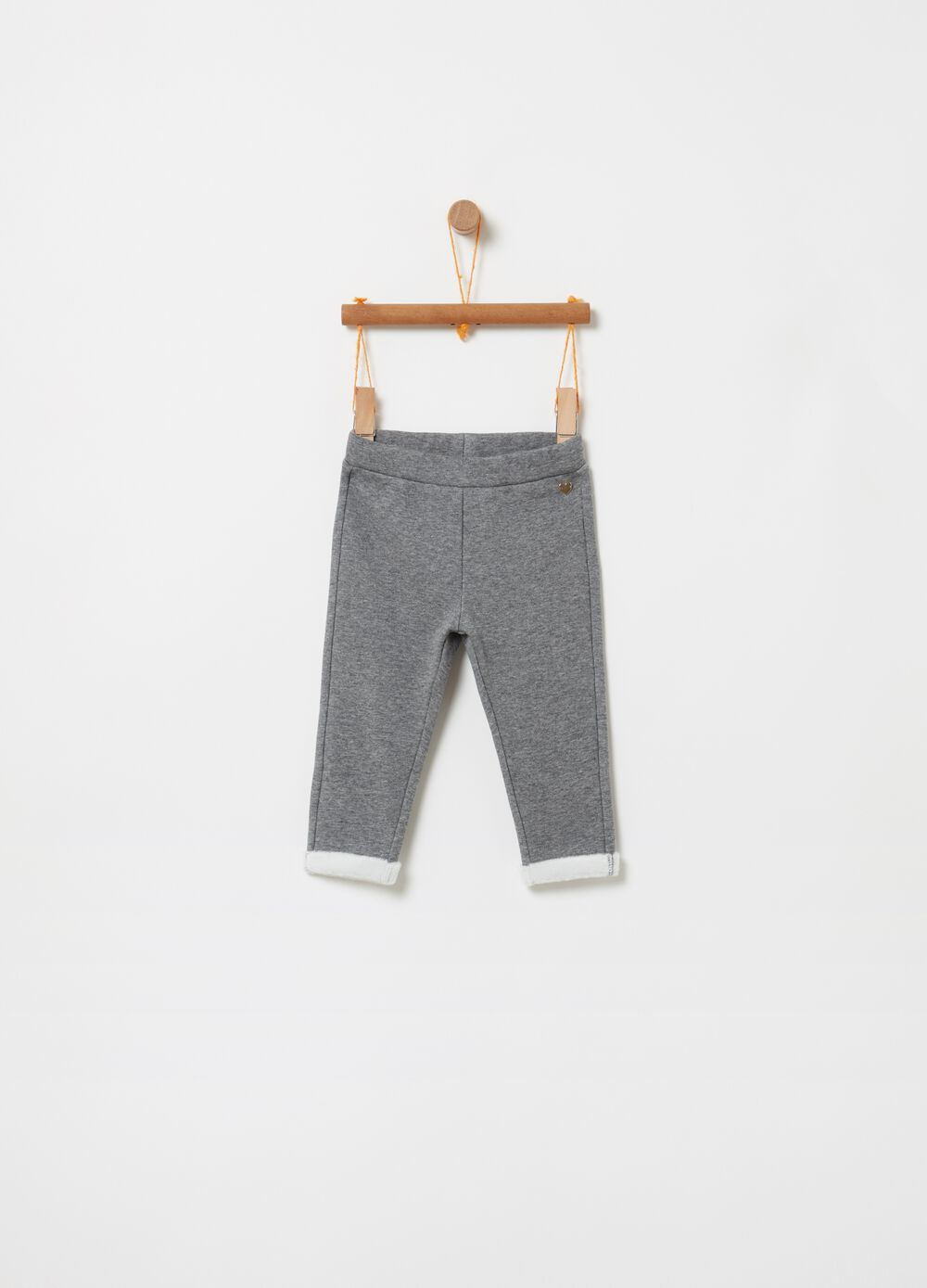 Mélange trousers with fold