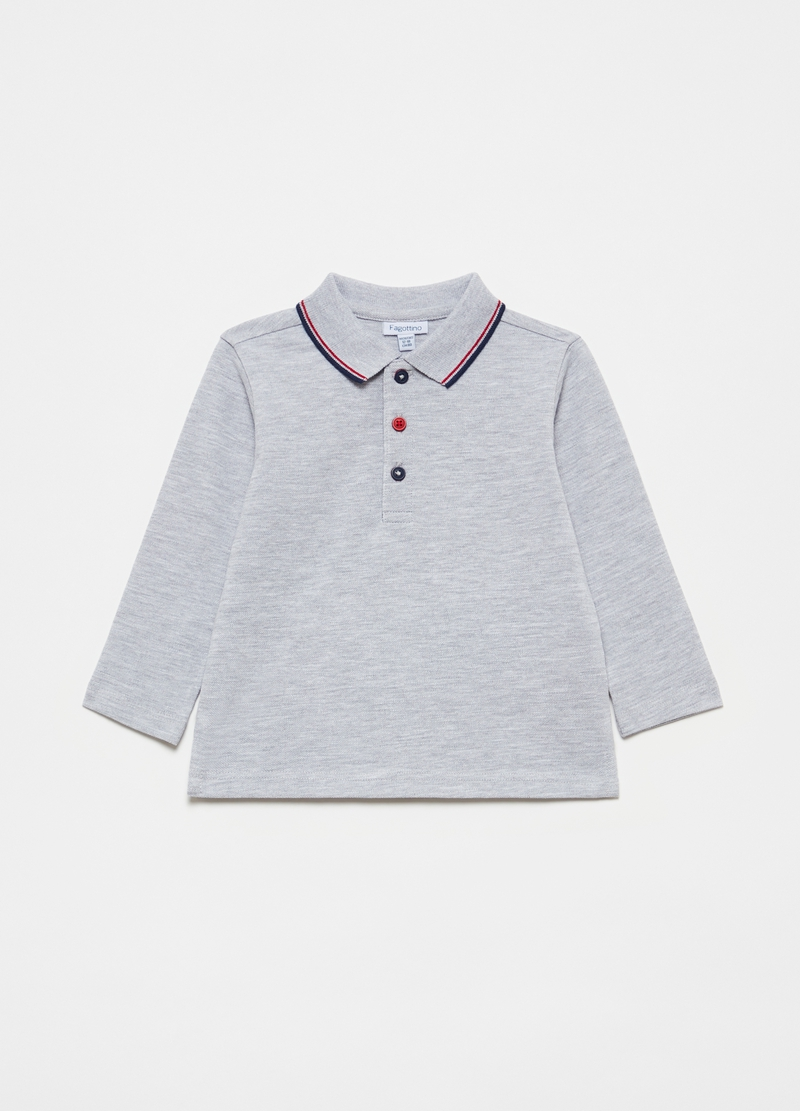 Mélange polo shirt with long sleeves image number null