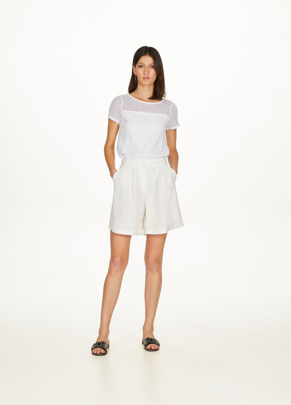100% cotton T-shirt with mesh and lace