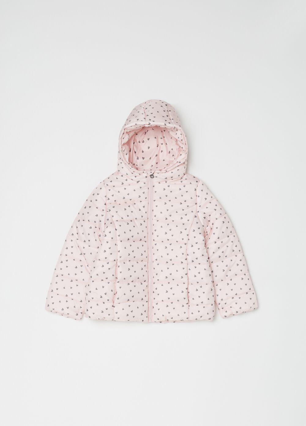Padded and quilted jacket with hearts