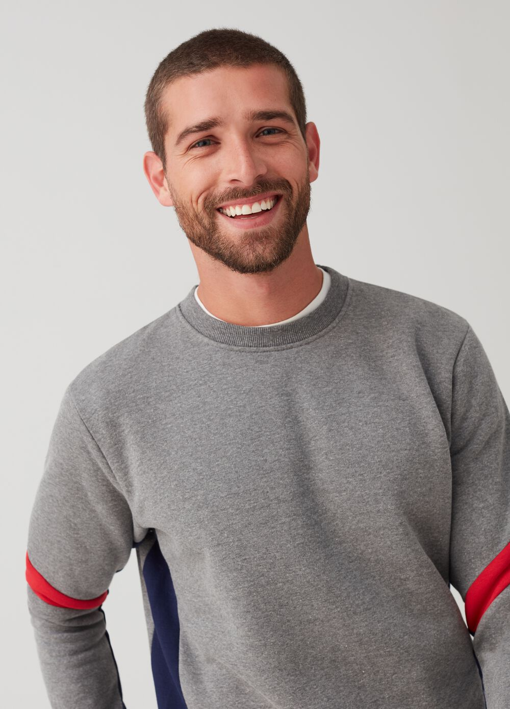 Mélange sweatshirt with round neck and ribbing