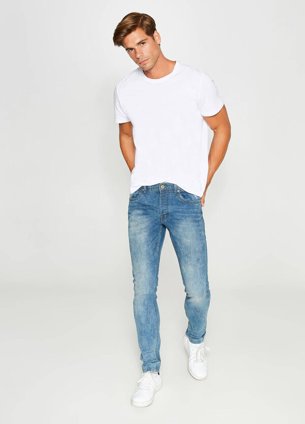 Worn-effect, slim-fit stretch jeans with whiskering