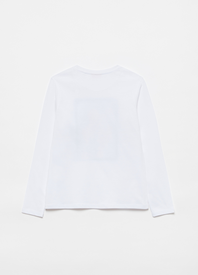 T-shirt with glitter print and long sleeves image number null