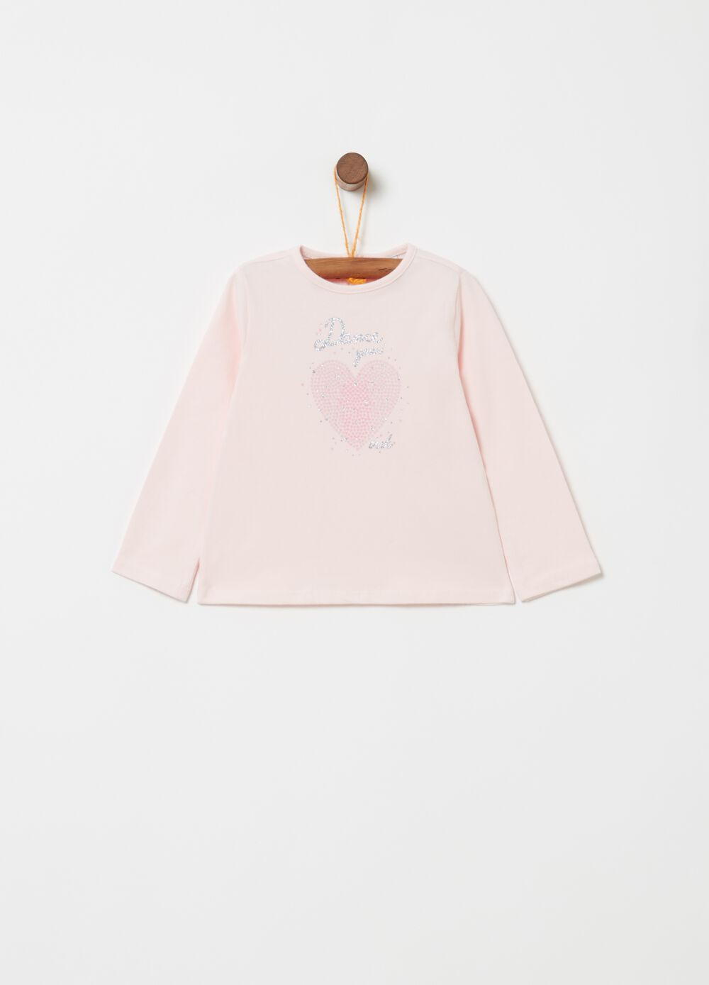 Organic cotton T-shirt with glitter print and diamantés