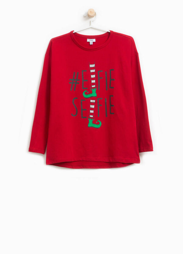 Stretch cotton T-shirt with elf print