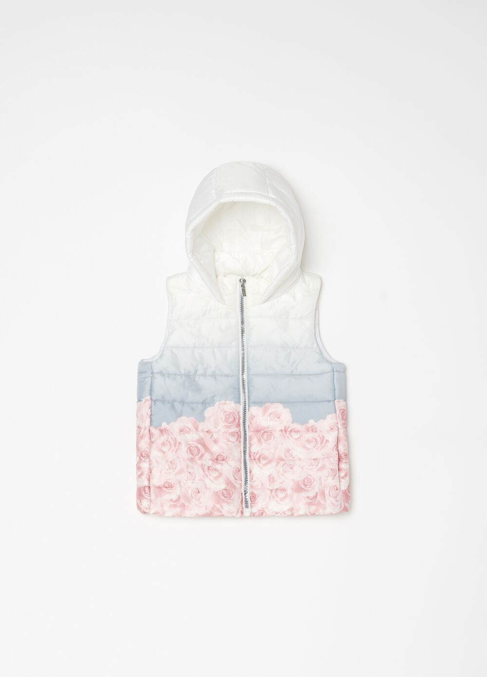 Padded gilet with degradé rose print
