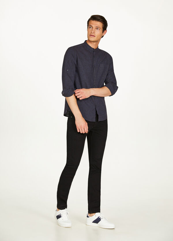Micro striped cotton and linen shirt