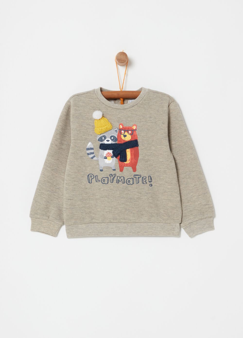 Mélange sweatshirt with knitted application and print