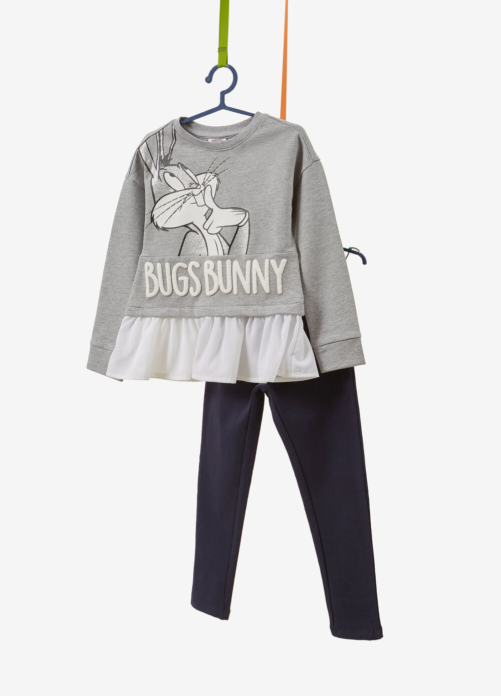 Tracksuit with Bugs Bunny glitter print in100% cotton