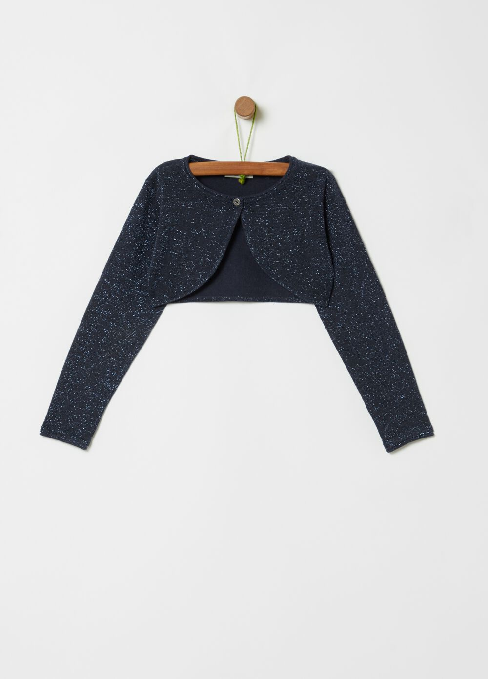 Crop cardigan with all-over lurex