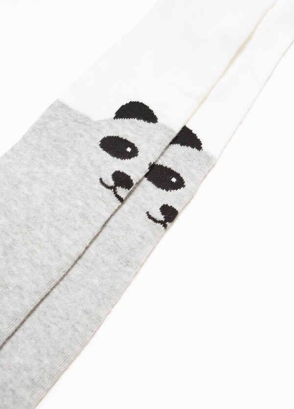 Collant cotone stretch ricami panda | OVS