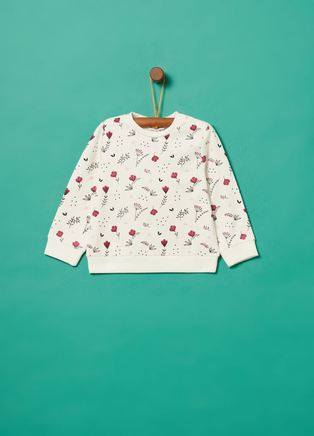 Stretch organic cotton floral sweatshirt