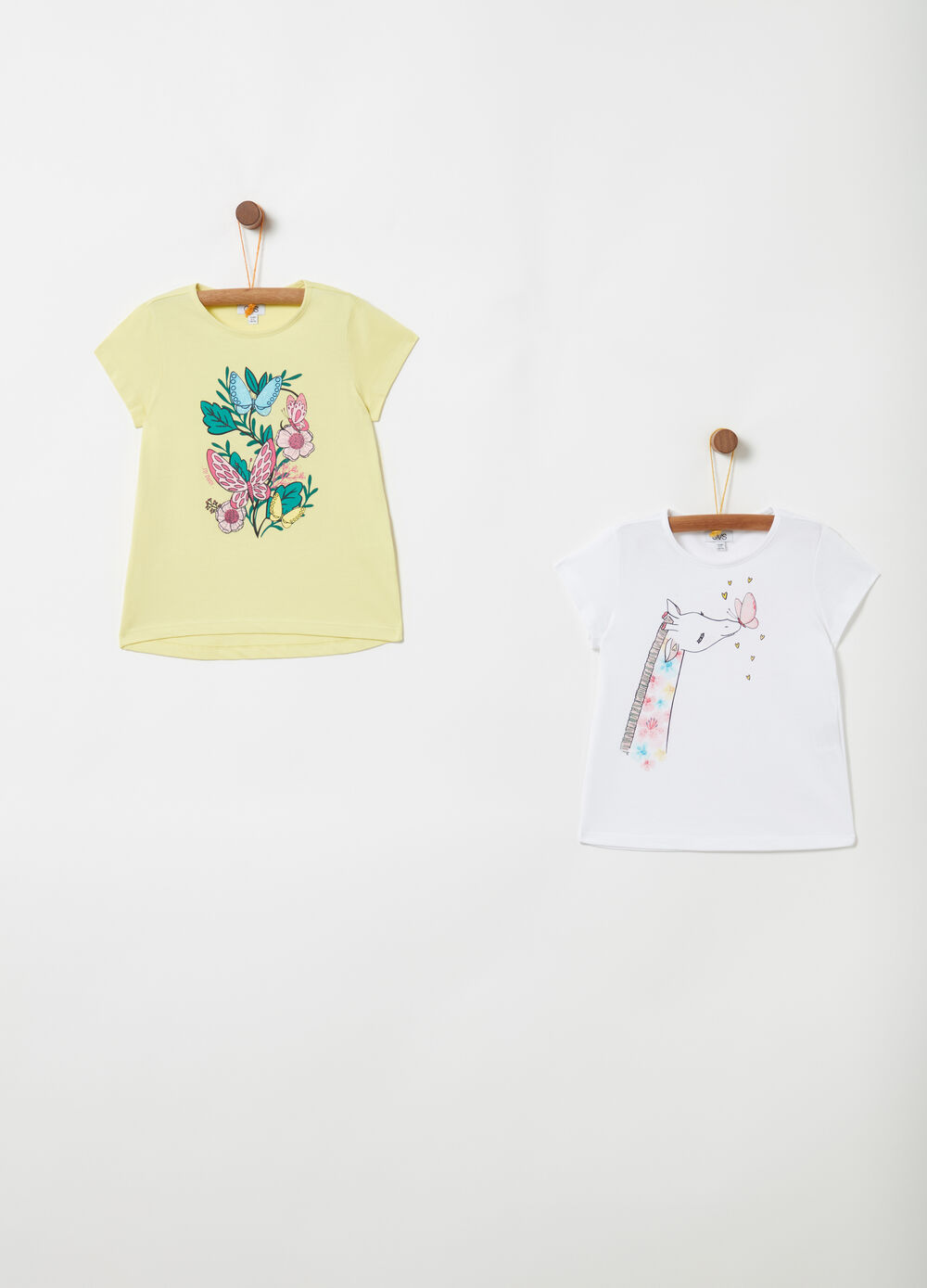 Two-pack cotton T-shirts with glitter and print
