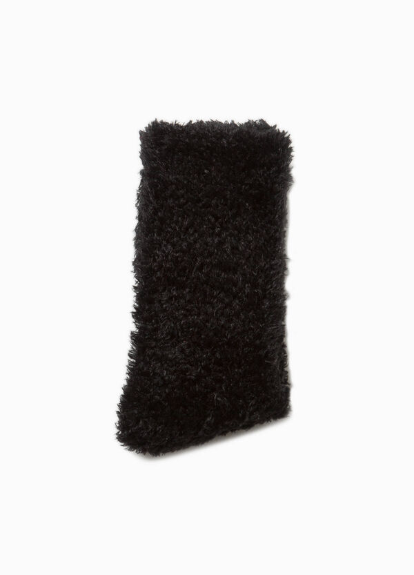 Short stretch socks with faux fur
