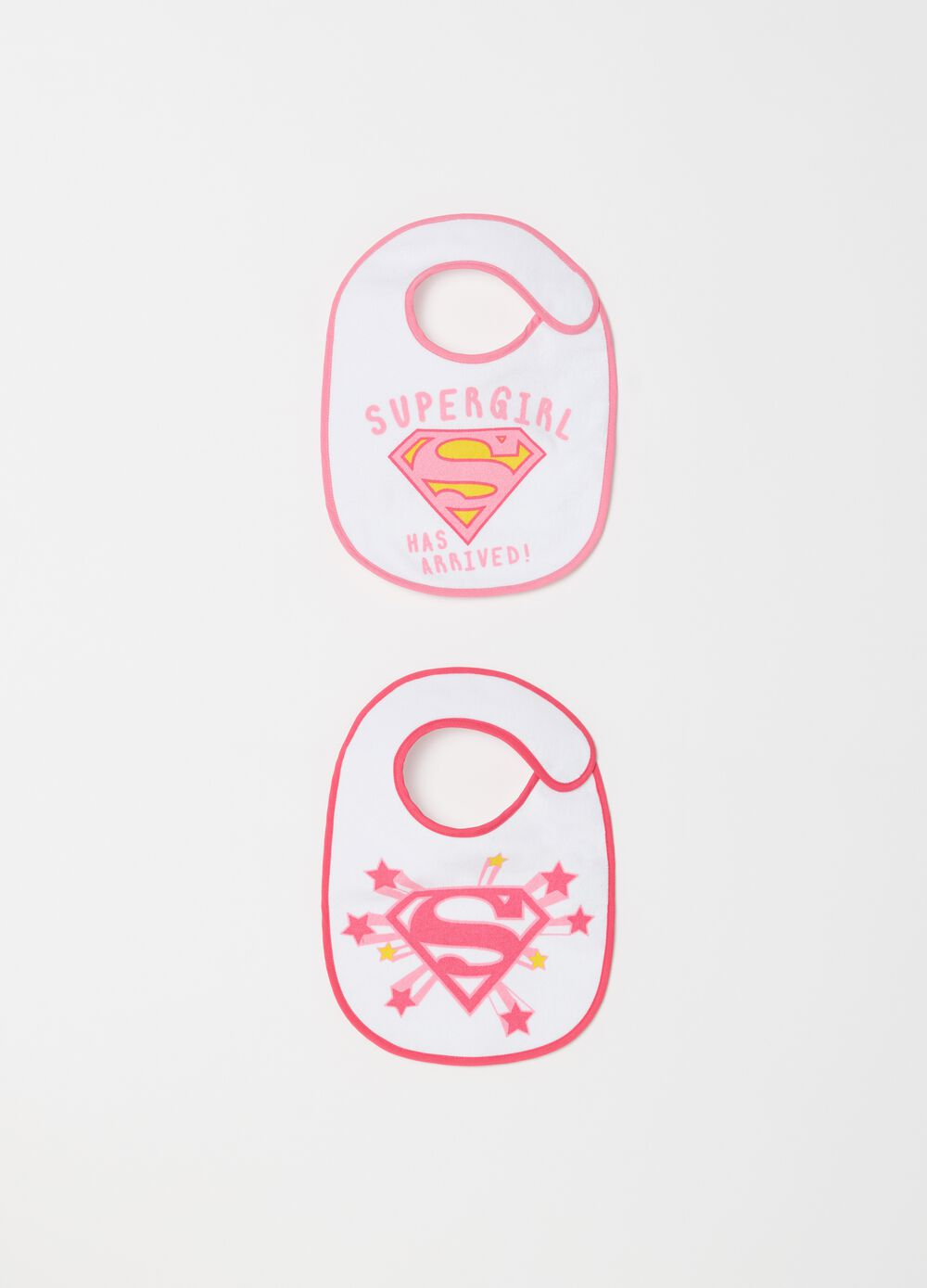 Two-pack bibs with Supergirl print