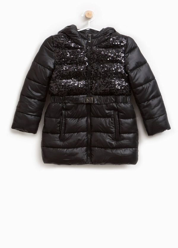 Long down jacket with belt and sequins | OVS