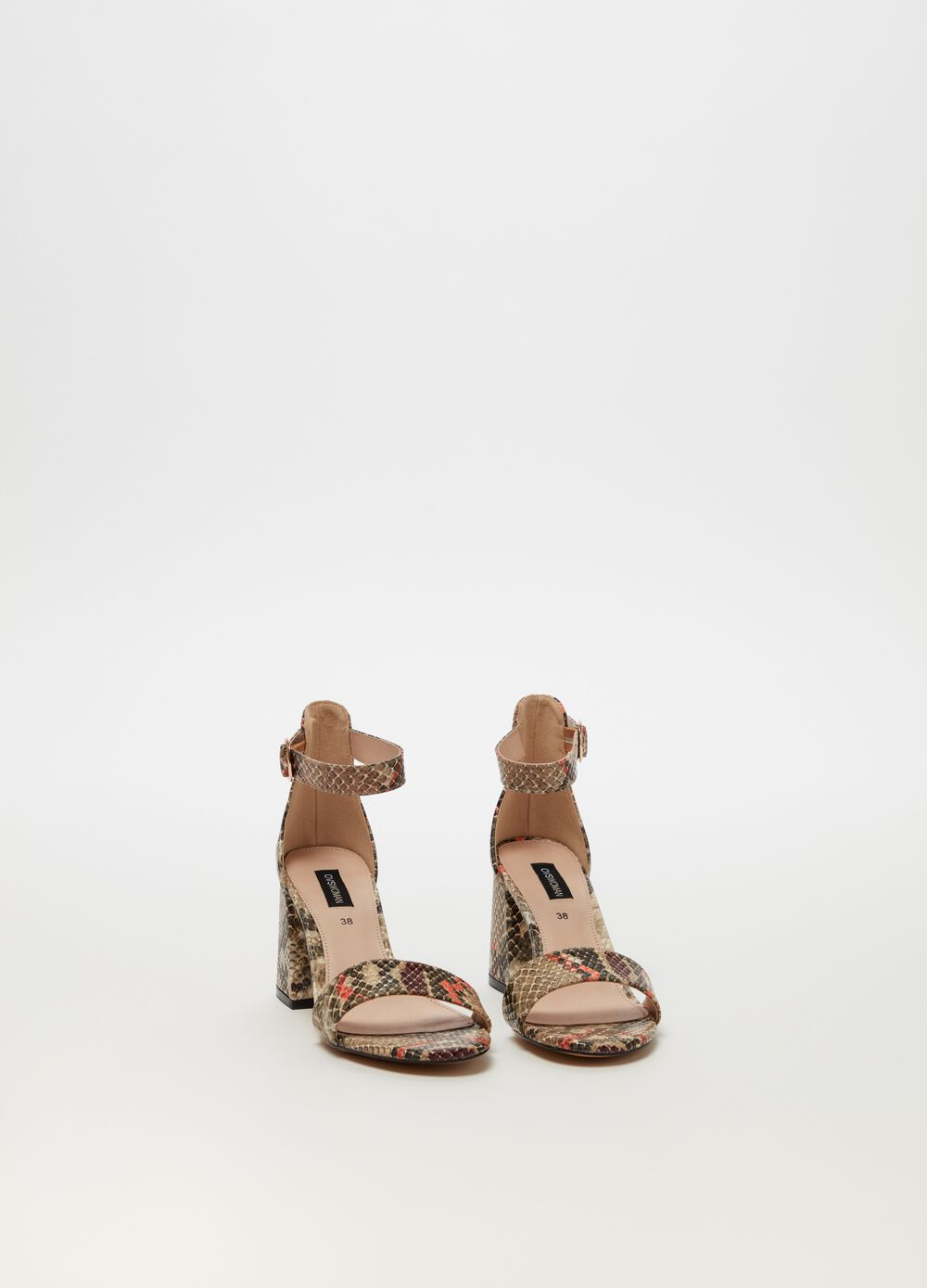 Snakeskin-effect sandals with high heels