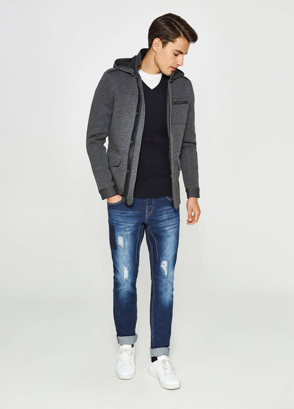 Jacket in stretch viscose with hood | OVS
