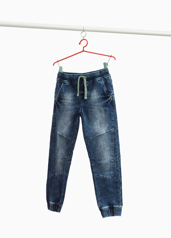 Misdyed-effect stretch jeans with stitching