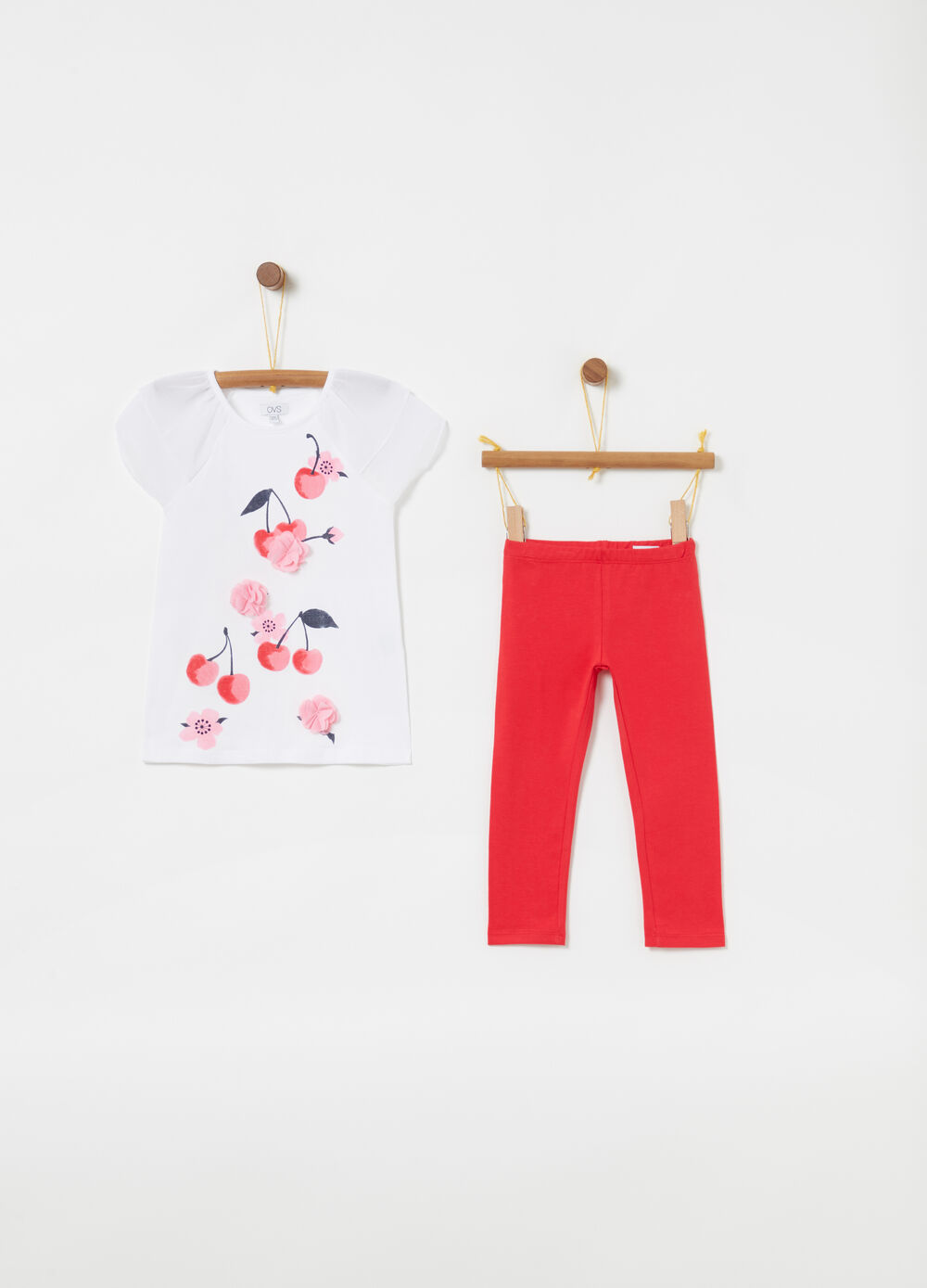 Jogging set with T-shirt and leggings with print and tulle