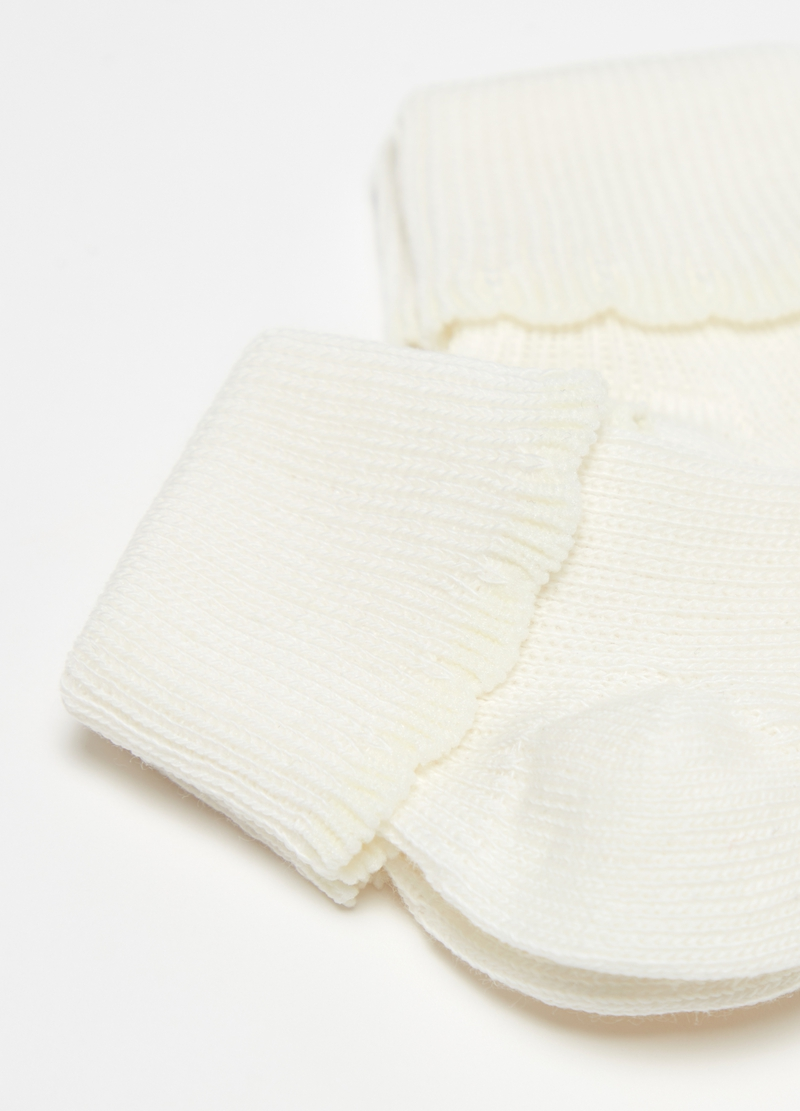 Two-pair pack short socks with fold and ribbing image number null