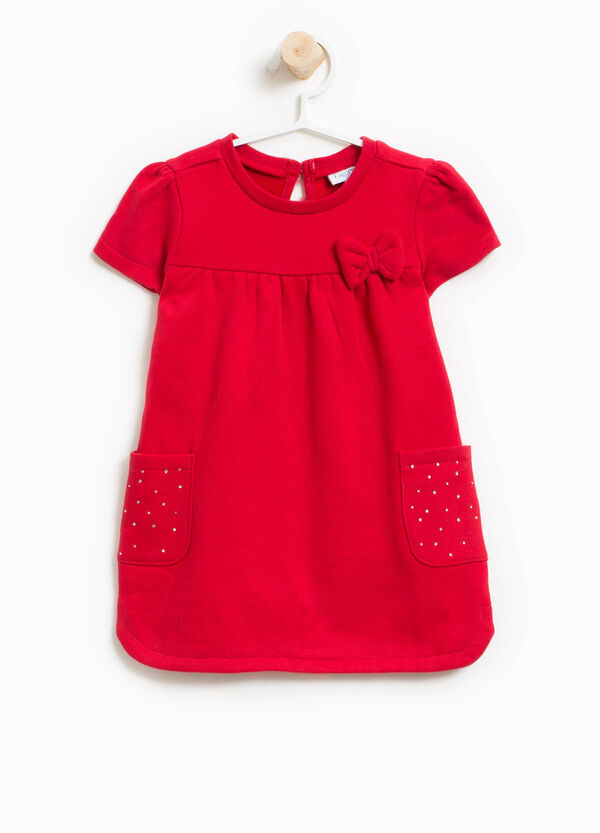 Cotton dress with diamantés and bow | OVS