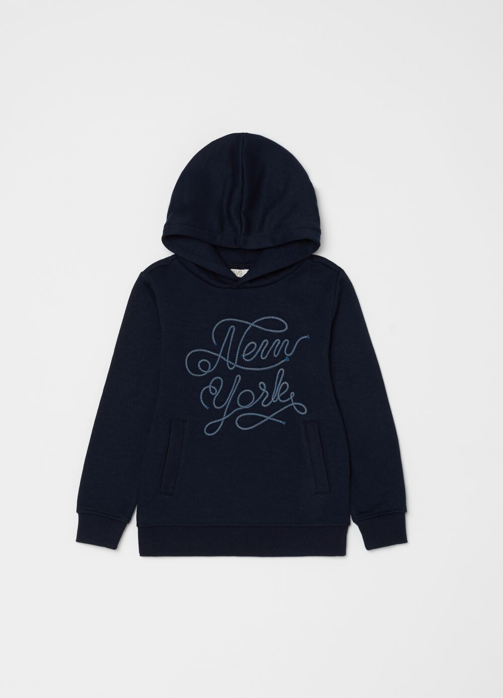 Sweatshirt with hood and lettering embroidery