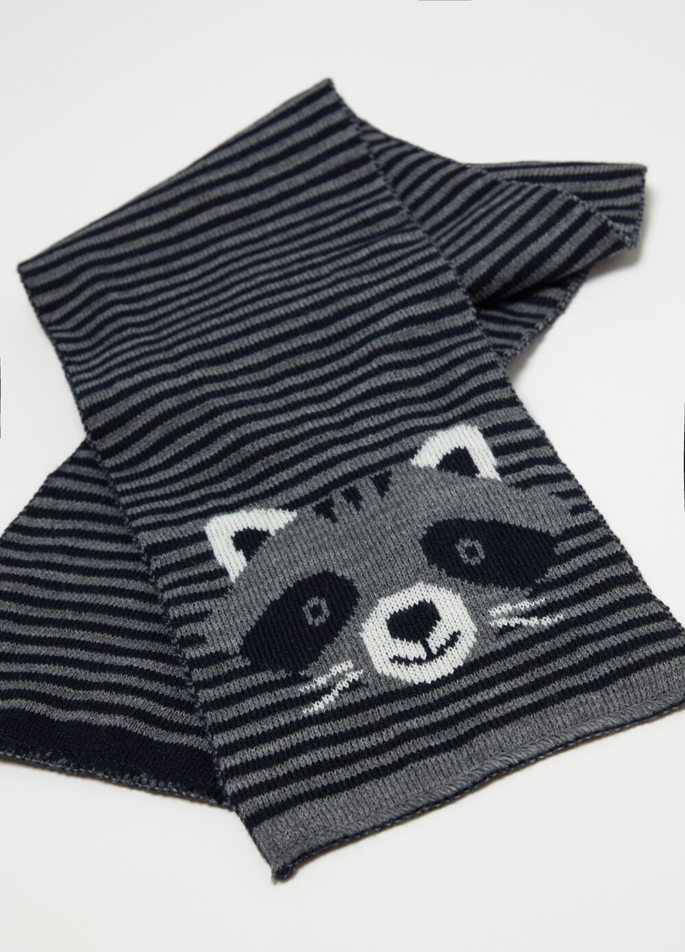 Scarf with raccoon embroidery and striped pattern