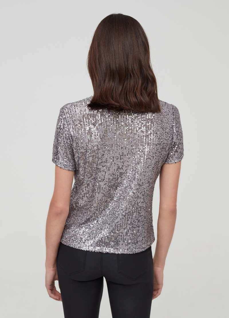 Sequinned T-shirt with round neck image number null