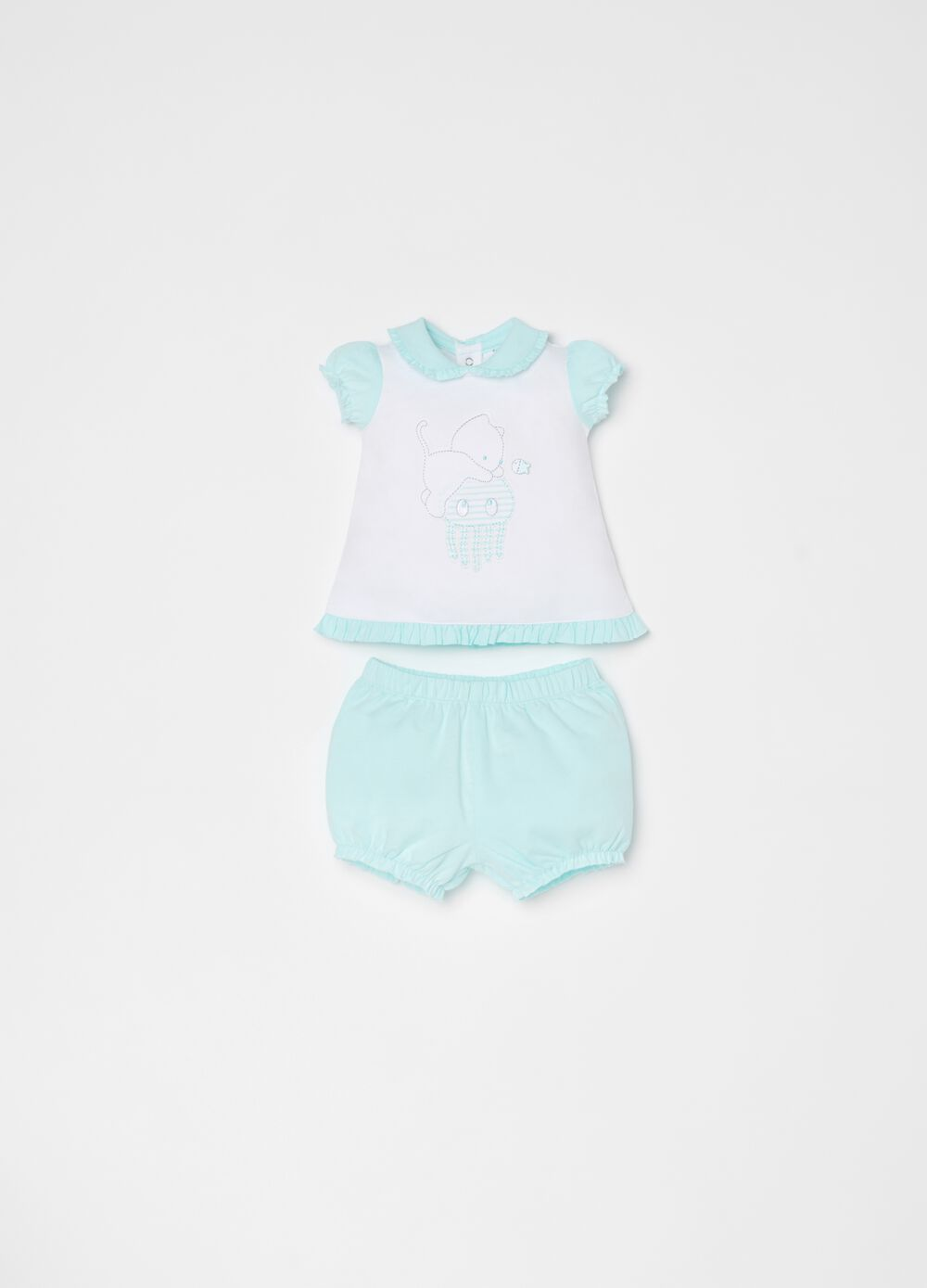 T-shirt and short trousers set in 100% cotton