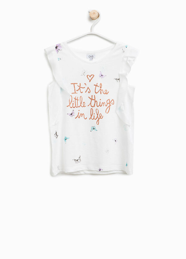 Cotton and modal top with butterfly pattern   OVS