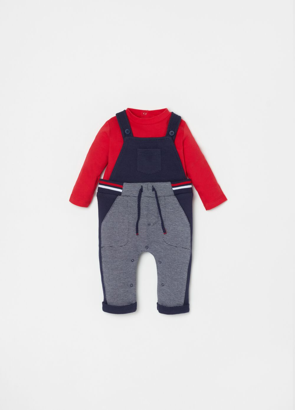 T-shirt and dungarees set with drawstring