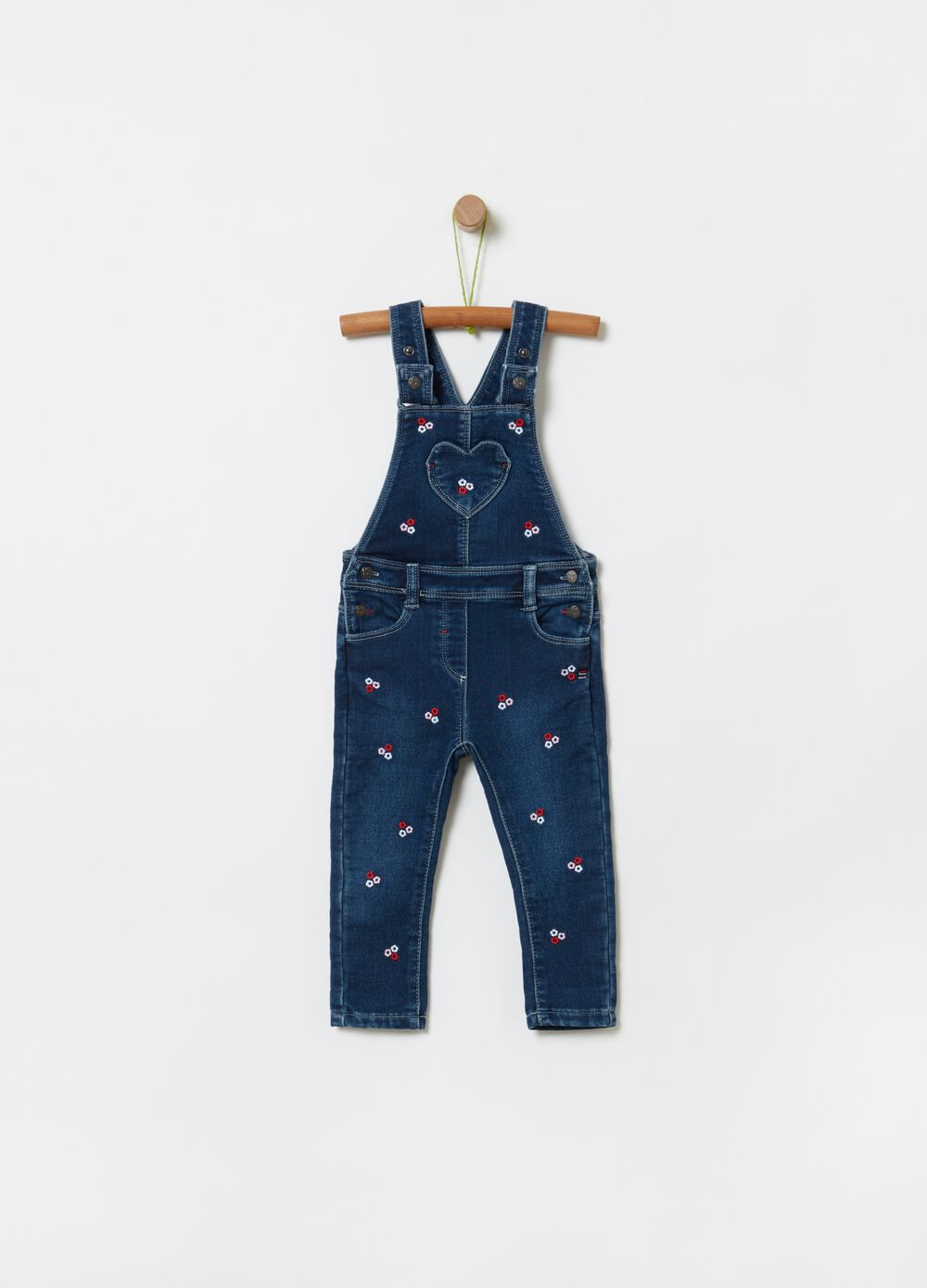 French terry dungarees with embroidery