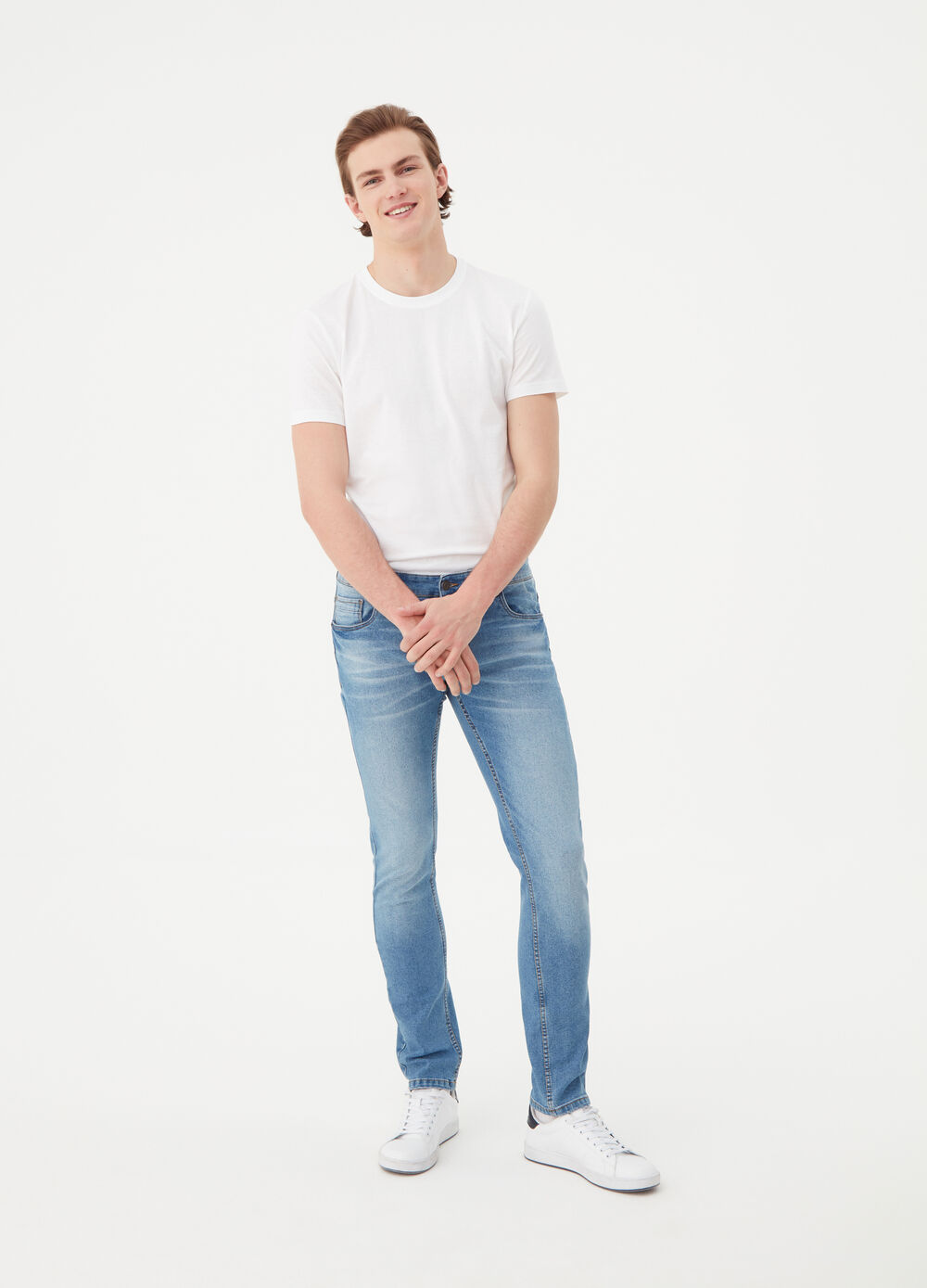 Five-pocket stretch jeans