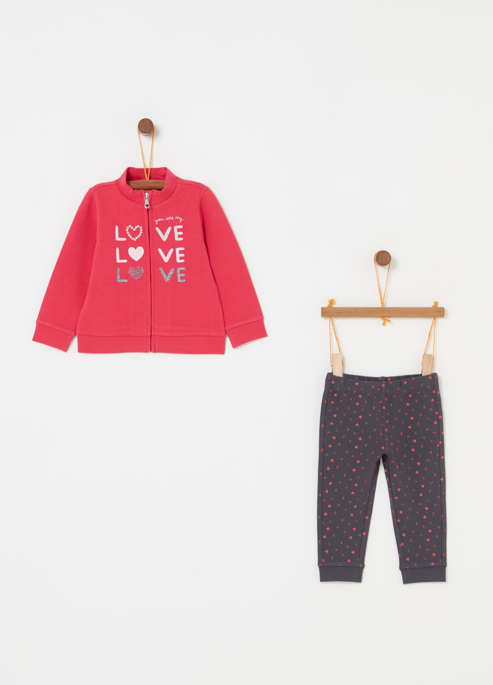 Jogging set con fantasia cuori