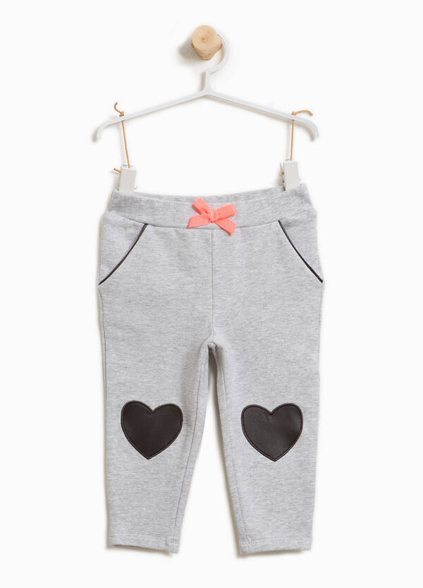 Stretch cotton trousers with hearts patches | OVS