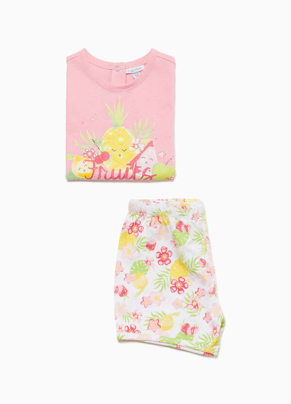 Pineapple and floral cotton pyjamas