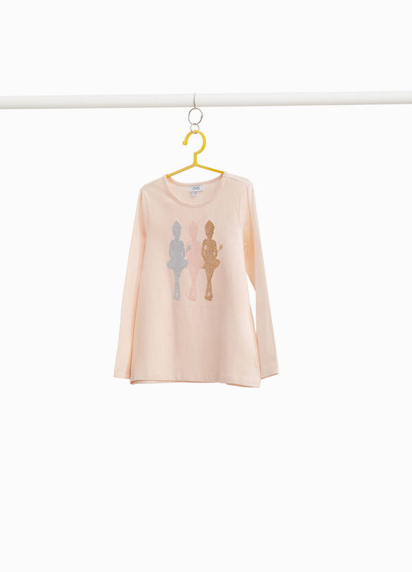 T-shirt with glitter ballerina print
