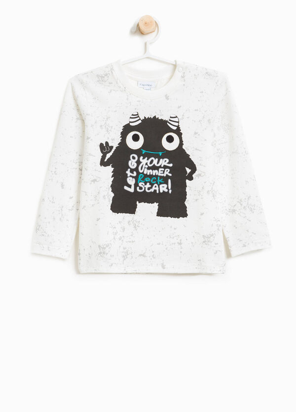 Cotton T-shirt with print and pattern | OVS