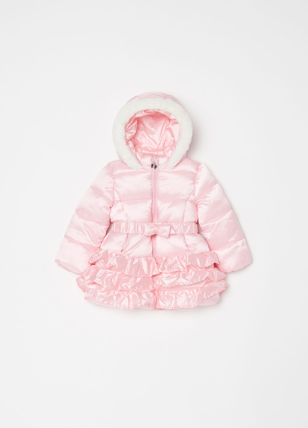 Padded and quilted jacket with flounces