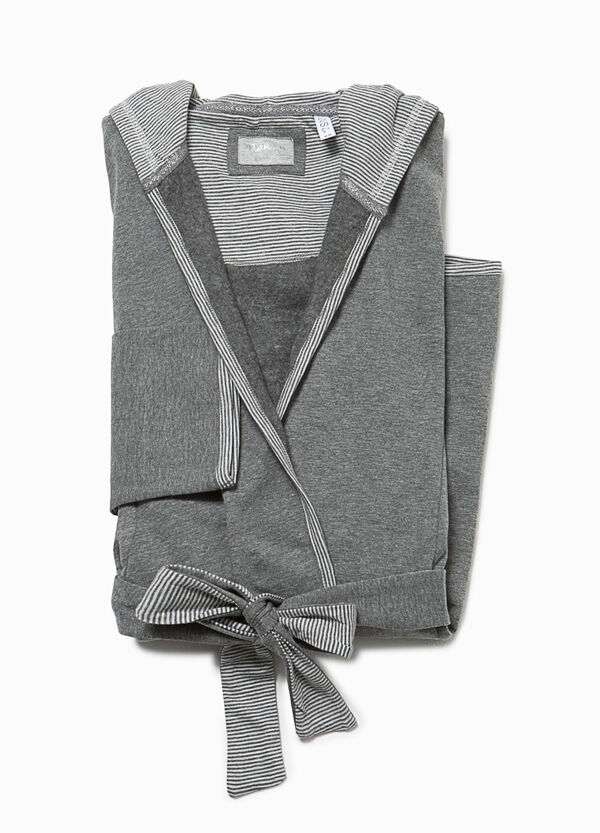 Dressing gown with striped hood and edging | OVS