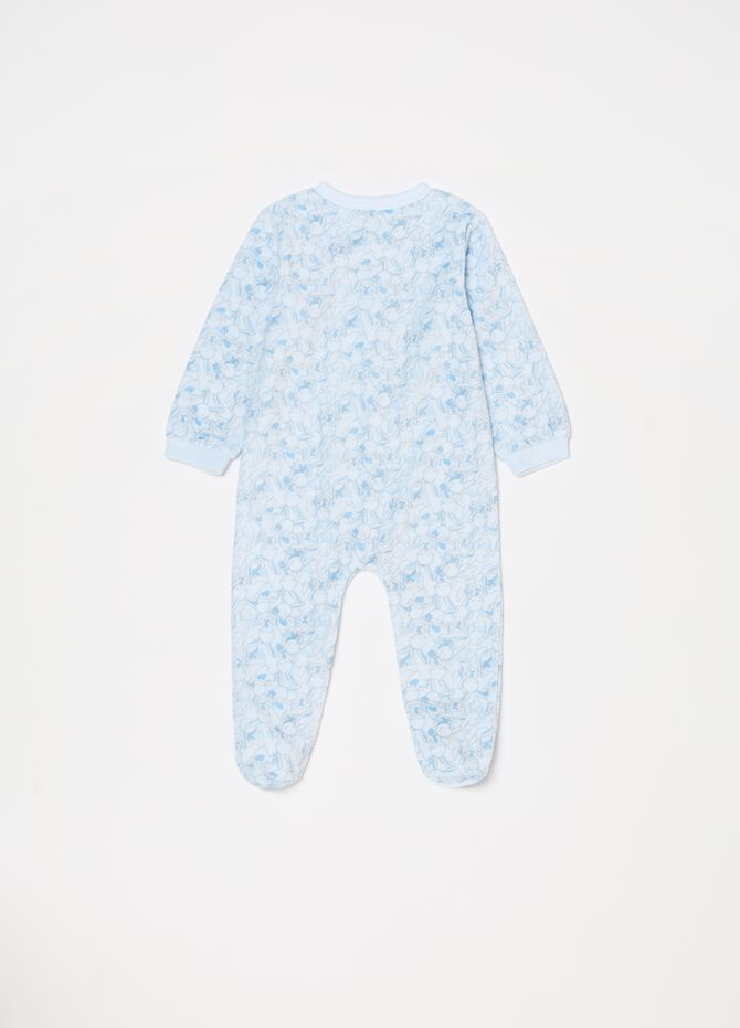 Onesie with feet, long sleeves and print