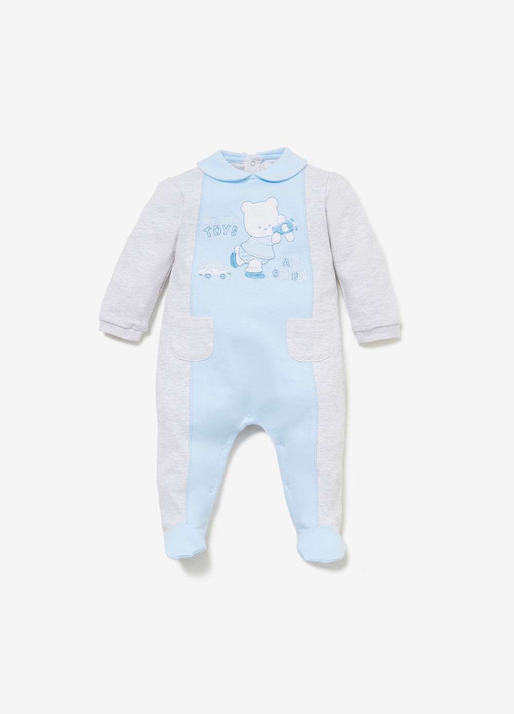 Two-tone romper suit with patch