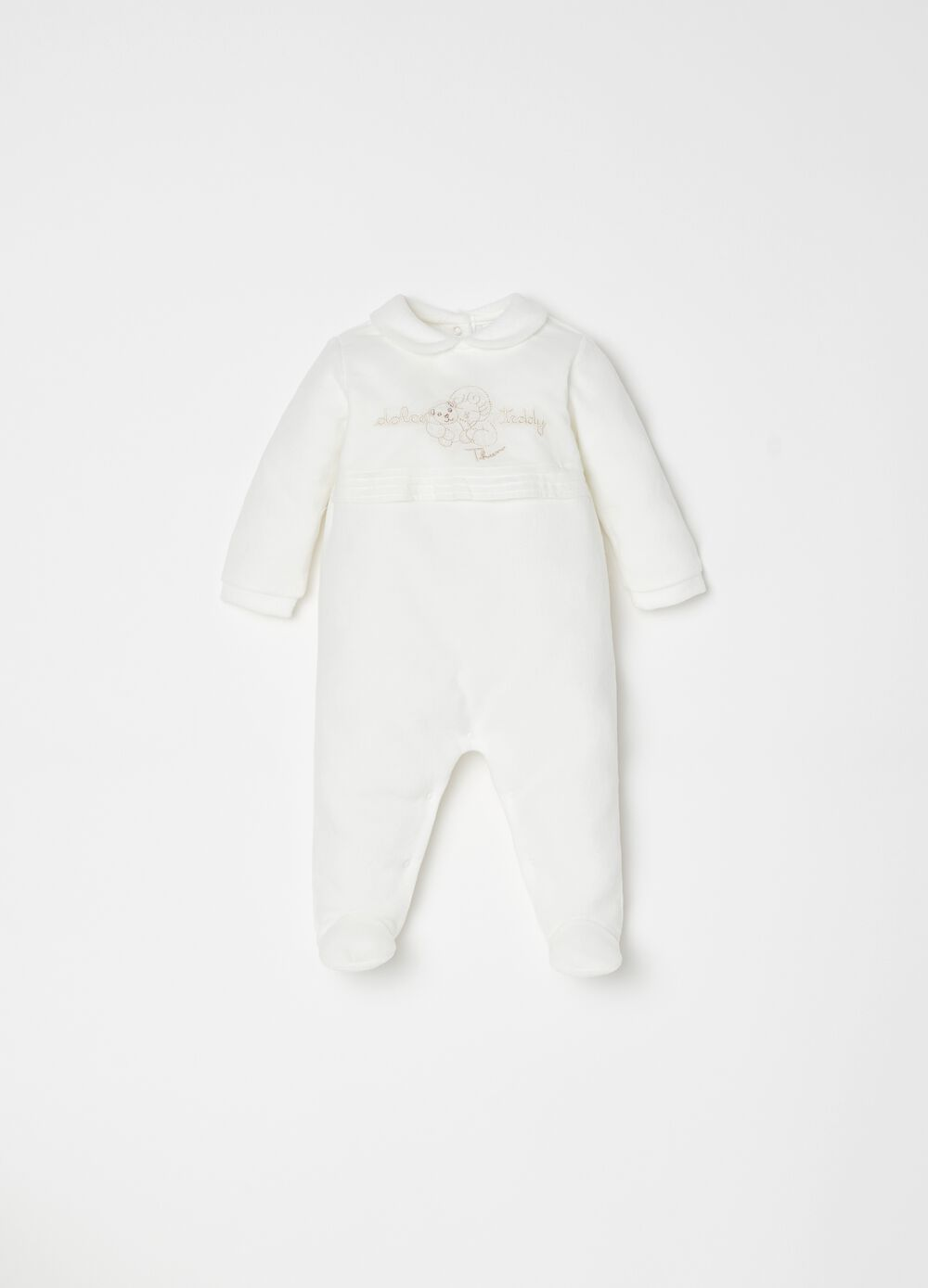 THUN Teddy onesie with feet and embroidery