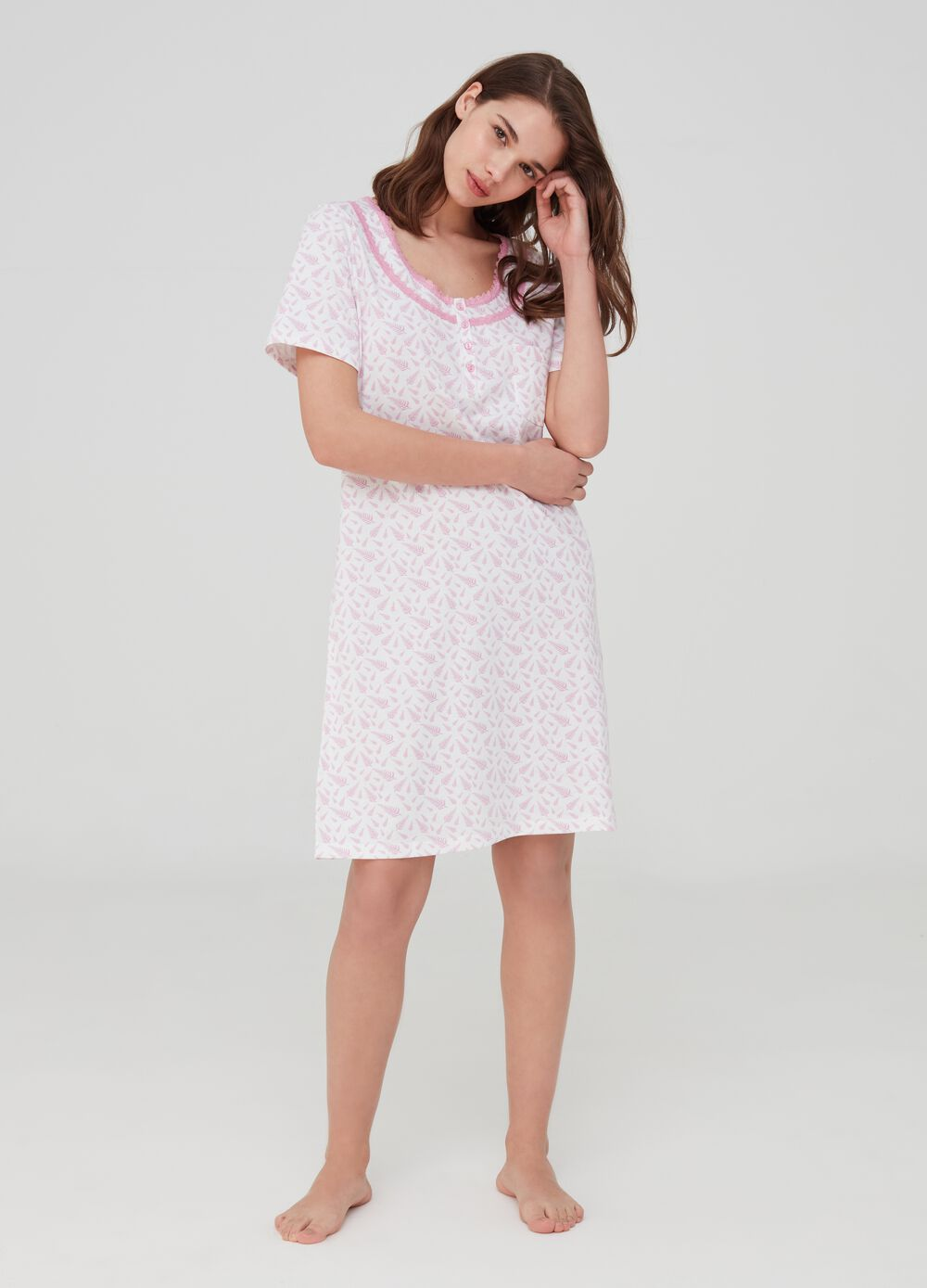 Organic cotton nightshirt with lace