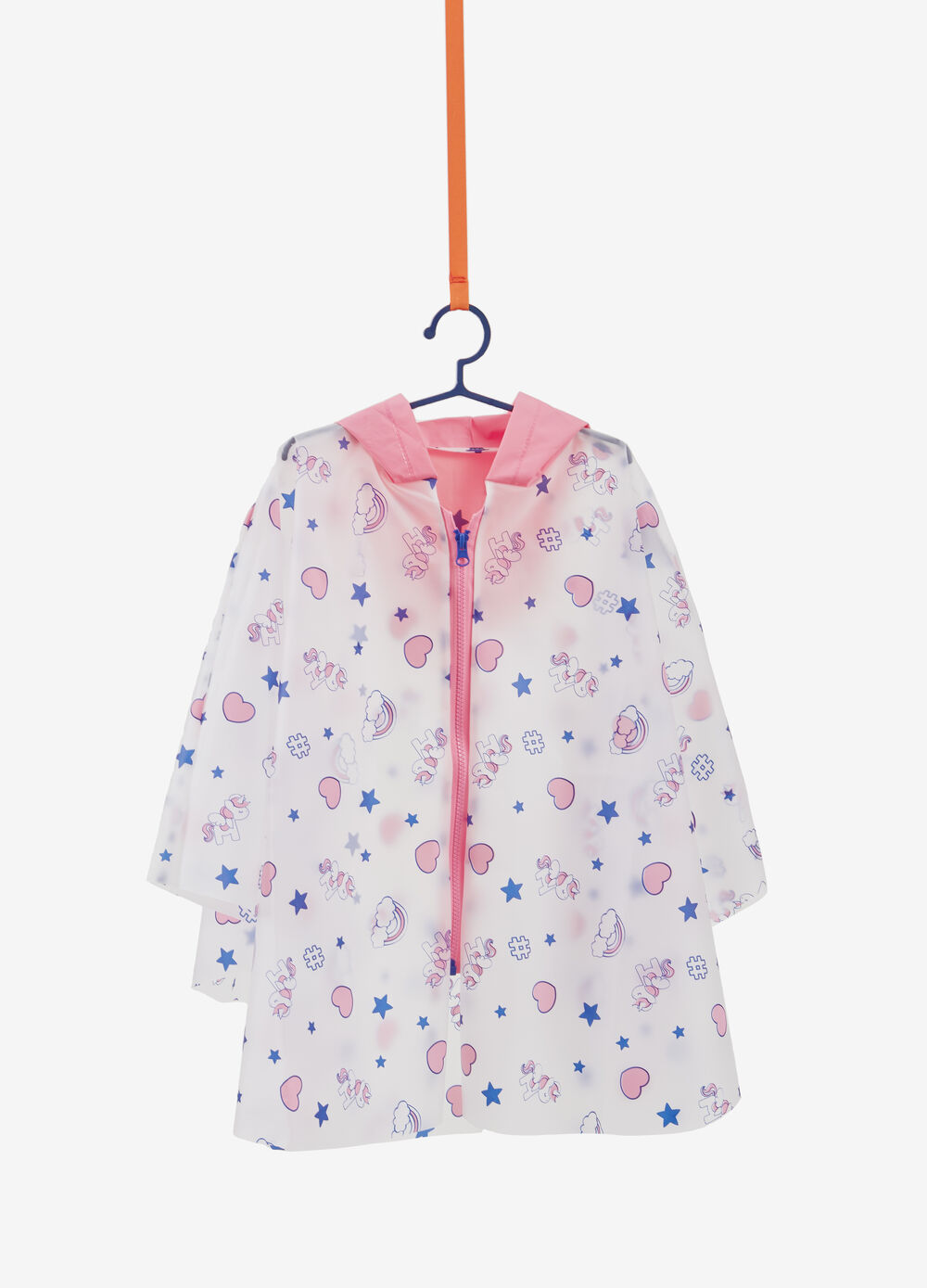 Rain poncho with hearts and unicorns